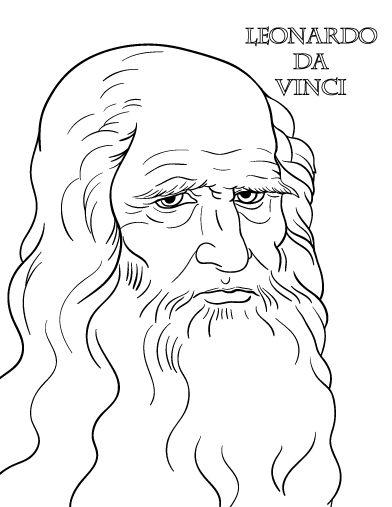 Printable Leonardo da Vinci coloring page. Free PDF