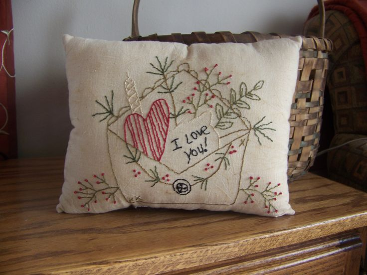 Primitive Stitchery Heart And Envelope Valentine Pillow