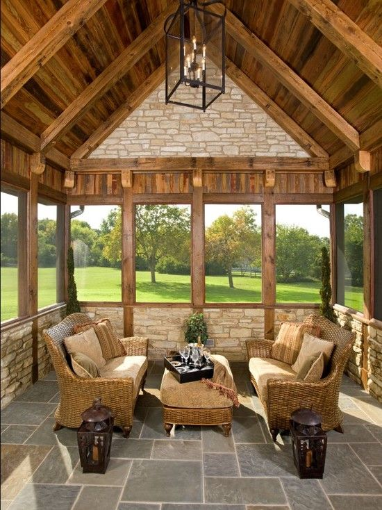 Beautiful sunroom I love the wood with the stone all
