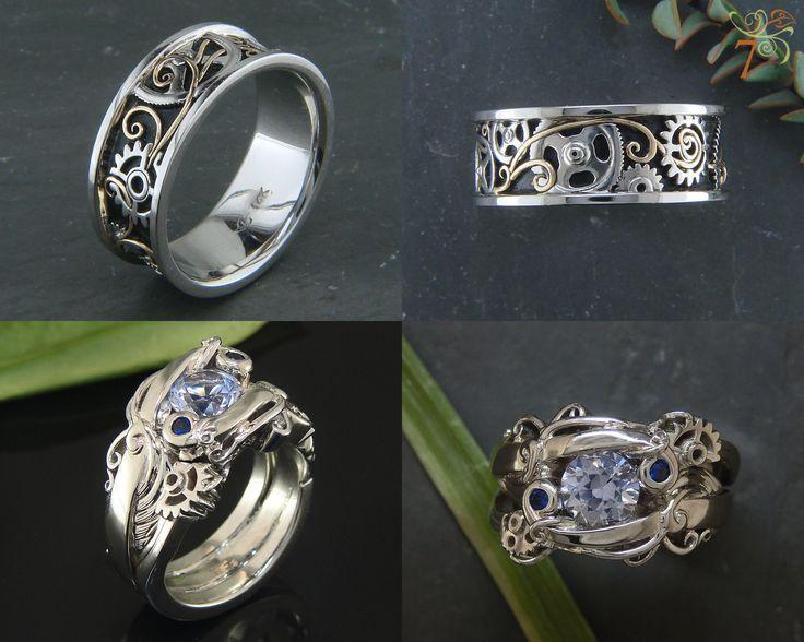 Steampunk Wedding Set Custom Setting With Sapphire Hers