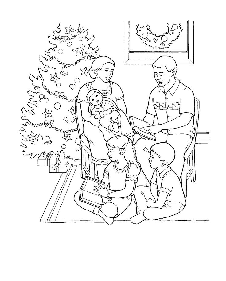 A family at Christmas. Coloring page for Primary kids from