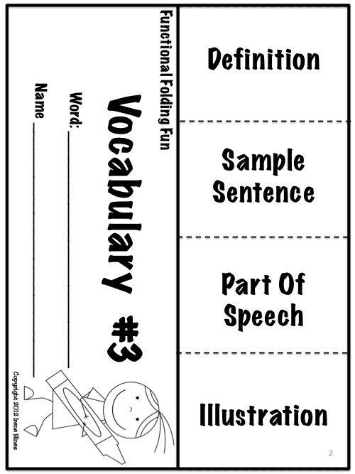 17 Best ideas about Vocabulary Foldable on Pinterest