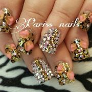 bling nails cheetah
