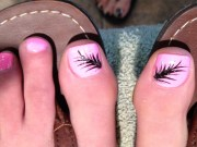 feather toenail art nails