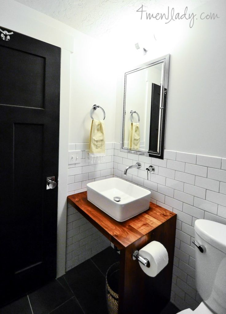 Bathroom vanity made from wood counter with waterfall edge and no cabinet 4men1ladycom  DIY