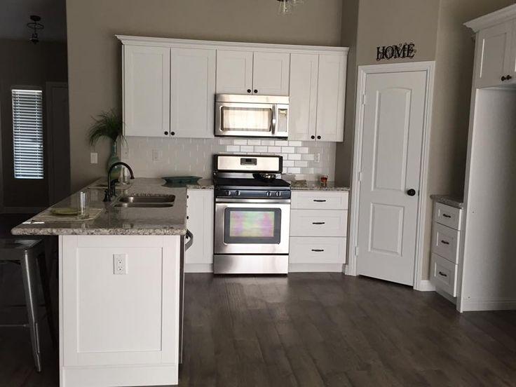 espresso and white kitchen cabinets mid century modern shaker cabinets, subway tile backsplash ...
