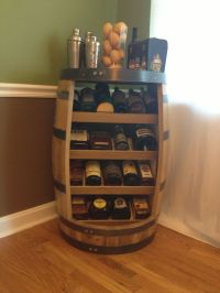 Old whiskey barrel turned liquor/ wine cabinet | Whiskey ...