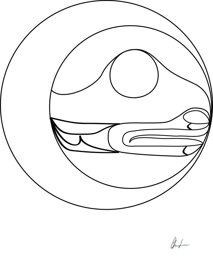 Winter solecist moon coloring book design. Northwest Coast