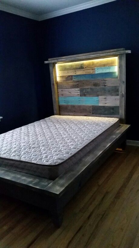 Pallet Headboard And Platform Bed With Led Lights Hidden