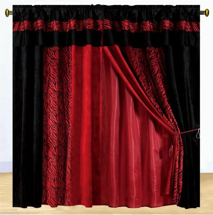 Red And Black Curtains SNSM155 Com