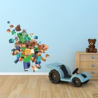 Full Colour MINECRAFT XBOX GAME Wall Art Sticker Boys ...
