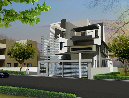 Shrinivasans Residence  View of Front Elevation for