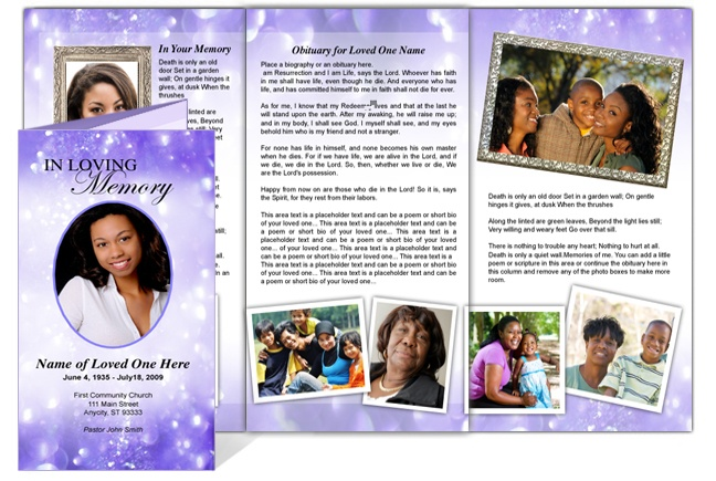tri fold obituary template free