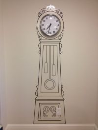 Old School Wall Decal Grandfather Clock with a Real Clock ...