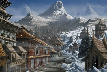 village fantasy xin yukigakure paizo mountains mountain anime sato villages pathfinder snowy japan wallpapers hd places landscape architecture wikia medieval