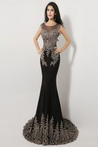 Sweep Train Black Long Cap Sleeve Beaded Prom Dresses ...