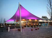 Seating area fabric canopy at Abbey Wood Retail Park ...