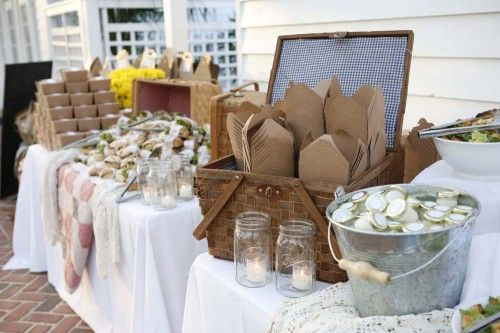 This is cool – a build your own picnic box buffet. Its a wedding reception but w