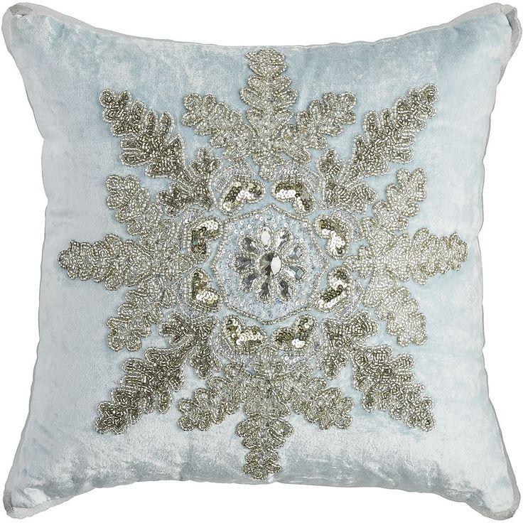 Velvet Beaded Snowflake Pillow Pier 1 Imports White Christmas Pinterest Snowflakes