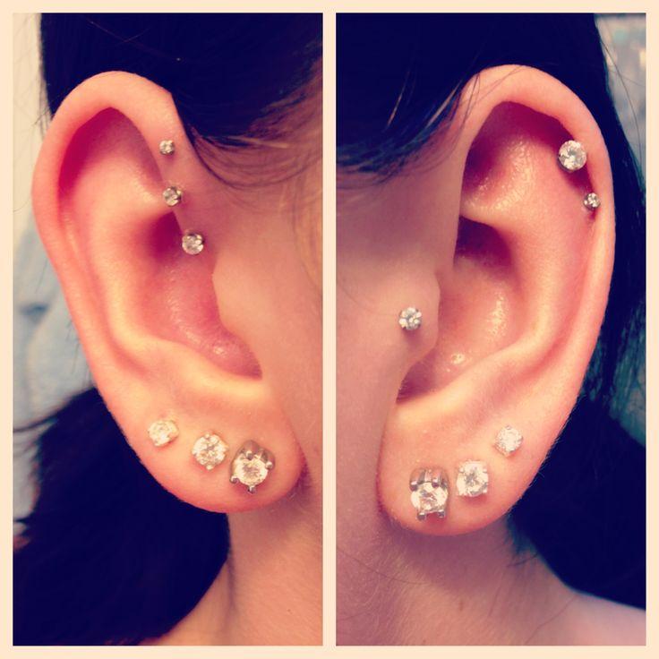 ear piercings, forward, triple, helix, double cartilage