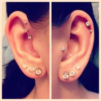 ear piercings, forward, triple, helix, double cartilage