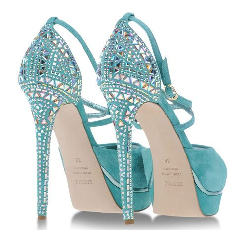 Le Silla turquoise suede sandals with embellished heels