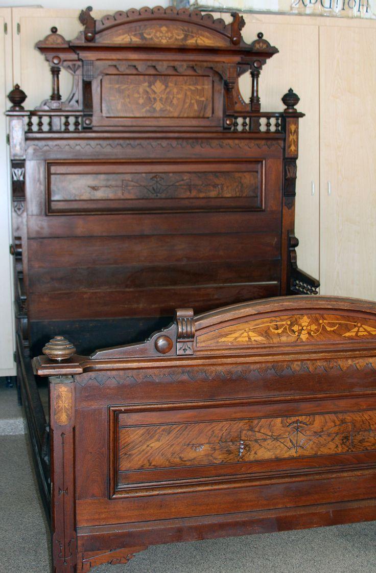 ANTIQUE BED EASTLAKE STYLE WALNUT wburl inlays 1800s w