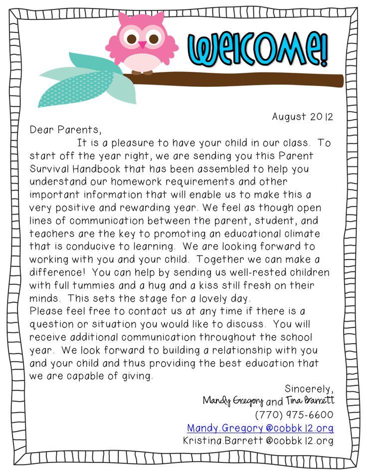teacher welcome back letter