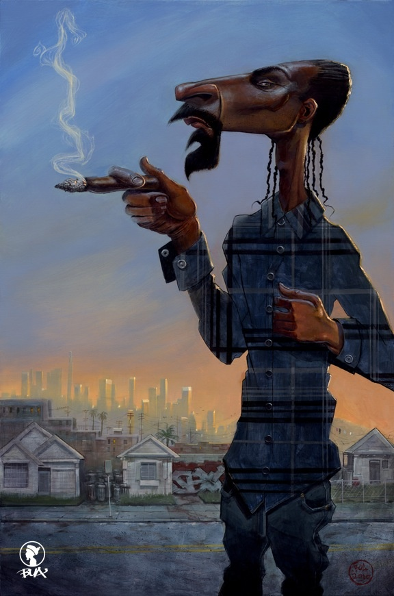 Justin Bua Painting of Snoop from Justin BUAs book titled The Legends of Hiphop Bua paints