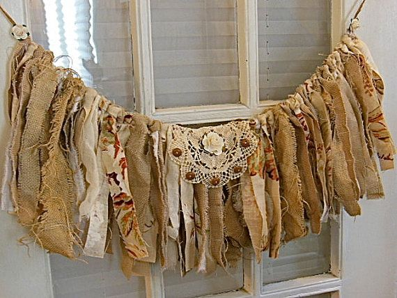 Strip Fabric Banner Wall Decor Rag Banner Fabric Burlap Garland French Country Chic
