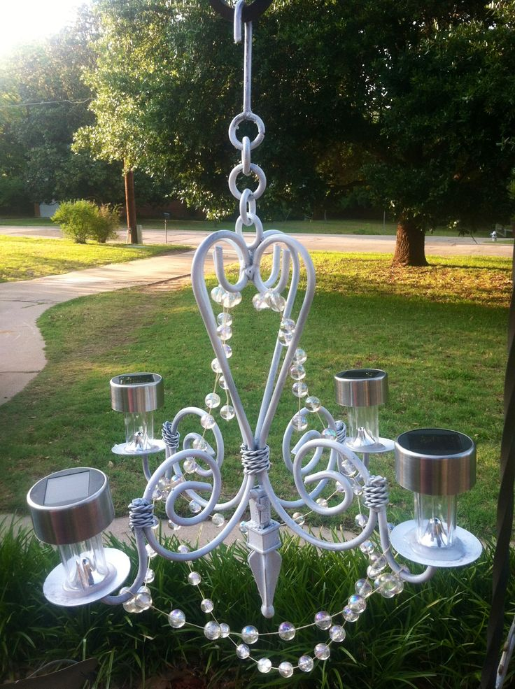 My homemade outdoor glitzy solar chandelier Cut off stems