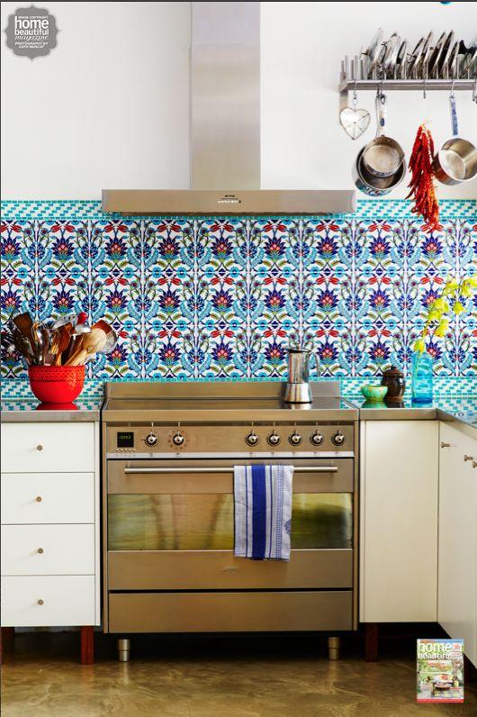 kitchen backsplash patterns cabinets doors poh ling yeow's colourful turkish-tiled looks like ...