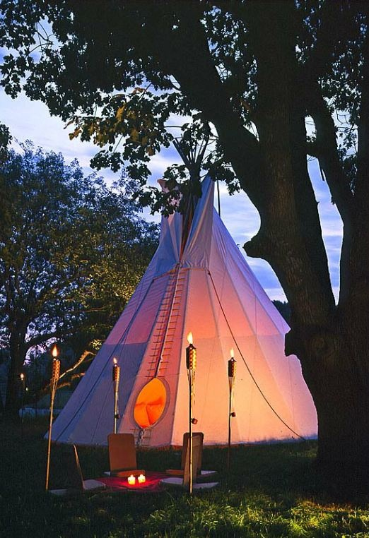 Teepee and tiki torches Ron Blunt photo  Trend