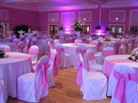 white tablecloth with silver overlay pink runner - Google ...