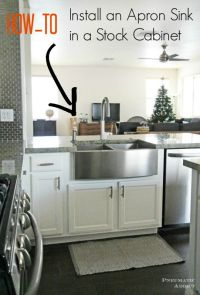 Learn how to modify a cabinet to accomidate an apron front ...