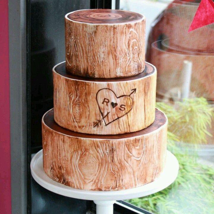 Rustic wood wedding cake  wedding ideas  Pinterest