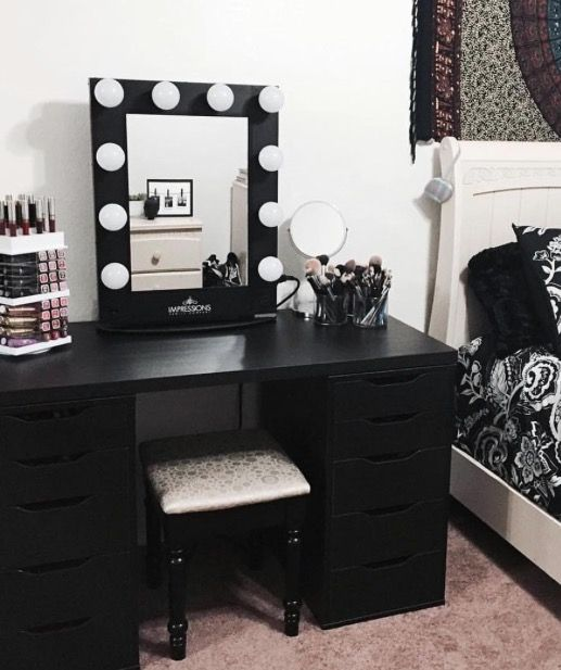 25 best ideas about Black makeup vanity on Pinterest  Vanity area Glam bedroom and