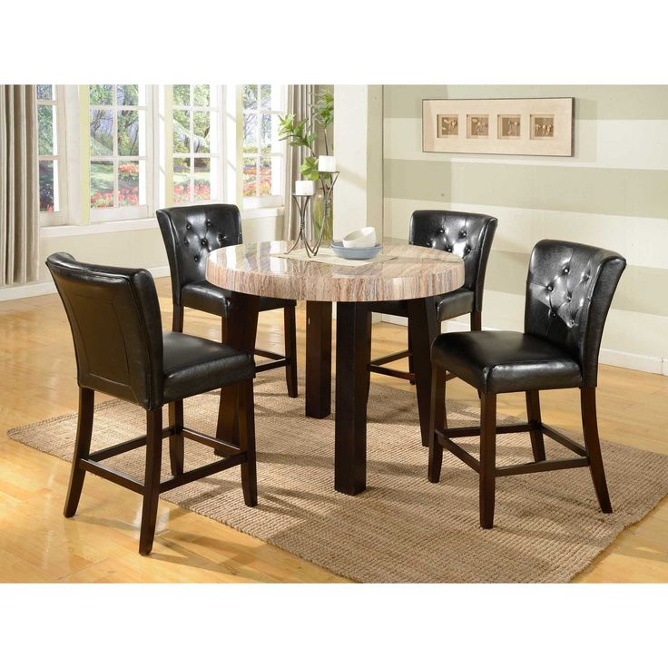 5 PC Round Contemprory Faux Marble Counter Height Dining