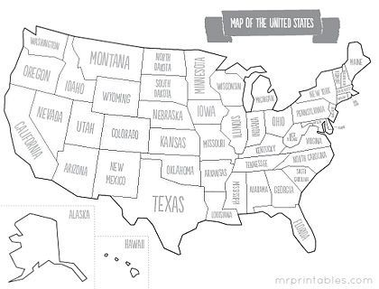 Printable map of USA with states names. Other maps on this