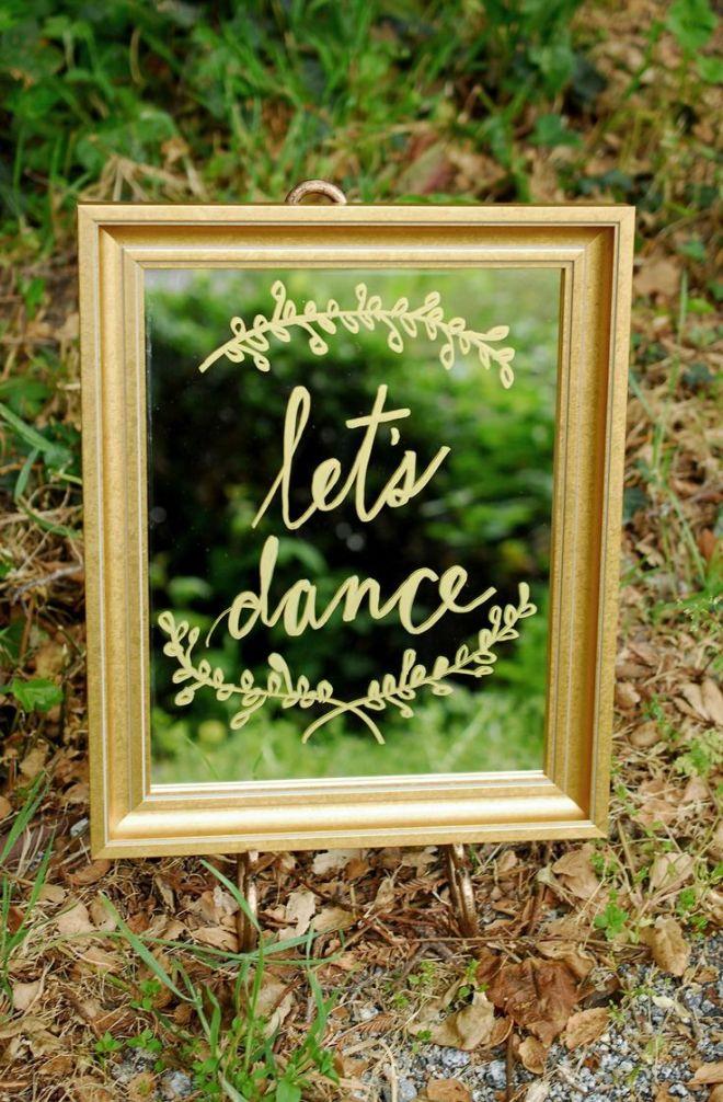 Framed mirror gold 11x14 dance floors wedding and