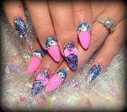 almond bows nail bling barbie
