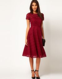 Dark Red/ Maroon Lace Bridesmaid Dress- Short, Sleeves ...