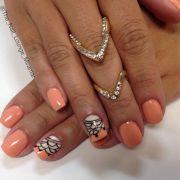 coral gel nail art design