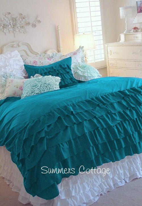 3 piece full  queen aqua teal turquoise ruffled duvet