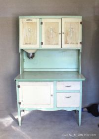 1930s Hoosier Cabinet Green & Cream Enamel Top and by ...