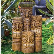 smiling tiki face fountain