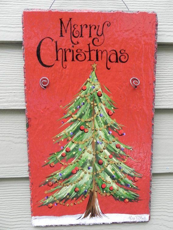 CHRISTMAS TREE Merry Christmas Hand Painted Slate