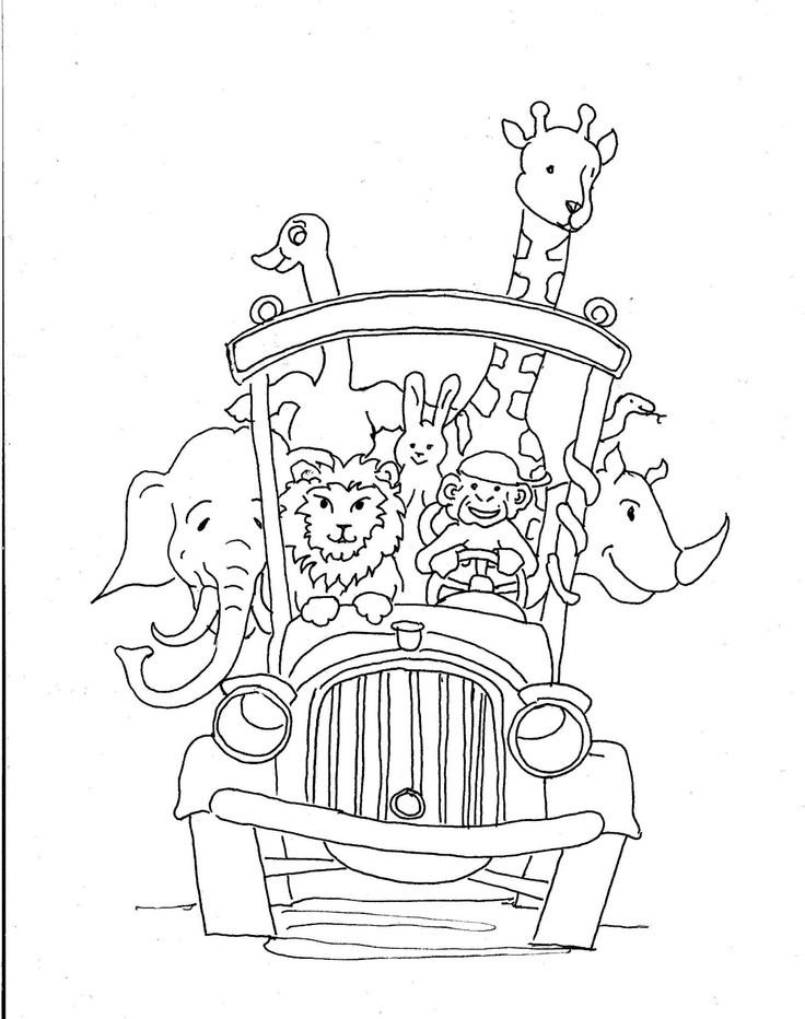 Coloring Pages For Kids By Mr Adron Animal School Bus