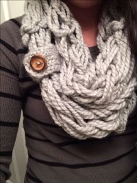 Arm Knitted scarf with a button loop. | Knitting ...