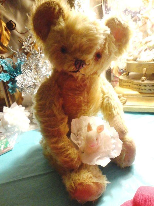17quot teddy bear rare knickerbocker metal nose antique circa
